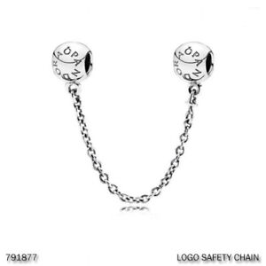 PANDORA Charm Sterling Silver ALE S925 SAFETY CHAIN LOGO 791877