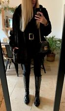 CLARKS BLACK REAL LEATHER PATENT FLAT KNEE HIGH BOOTS 5 38 £155