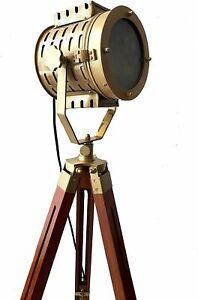 Antique searchlight vintage brass design spotlight on tripod nautical floor lamp