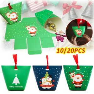10-20PCS Christmas Party Bags Bell Sweets Carrier Favour Candy Xmas Gift Boxes