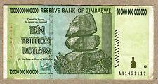 10 TRILLION ZIMBABWE DOLLARS 2008 AA. circulated VF+ (50 20 100 $10,000,000,000)
