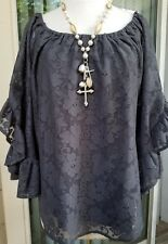 Ivy Jane casual Bohemian chic sheer blouse-top,Gray Color- 3/4 Bell sleeve-Large