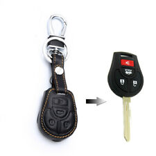 4 Button Yellow Remote Key Fob Bag Holder PU Leather Cover Case Fit Nissan