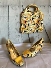 Wild Rose Patent Leather Yellow Groovy Shoes (Size 10) & Matching Handbag