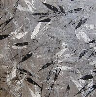 """Black White Leaves Abstract Wall Art Work Original Painting Signed H 8"""" Sq Gift"""
