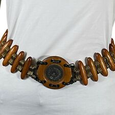 "BOHO Belt Wood & Metal Center Medallion Statement Rare Unusual Eye Catching 29"""