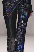 Gigi Hadid Holographic Leggings Pants Trousers Leather Look Skinny Rihanna