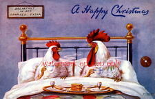 1908 Ellam Christmas Art~Chickens Eating Breakfast in Bed~NEW Large Note Cards