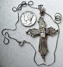 """Art Deco Iconic """"STERLING"""" Cross w/ Lead Chrystal Inset on """"ITALY 925"""" Box Chain"""