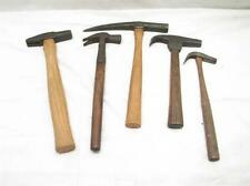 Lot Antique Hammers Tack Prospecting Blacksmith Hand Forged Strap Wood Tool
