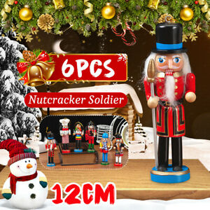 6X Wooden Nutcracker Puppet Soldier Ornaments Christmas Tree Hanging Decor