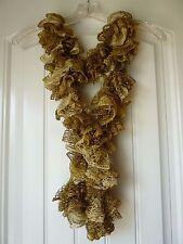 Handmade Crocheted Fashion Ruffle Scarf - Gold Metallic