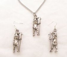 Egyptian God Anubis Necklace & Earrings Set in Fine English Pewter, Gift Boxed