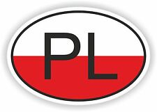 PL POLAND COUNTRY CODE OVAL WITH FLAG STICKER bumper decal car helmet laptop