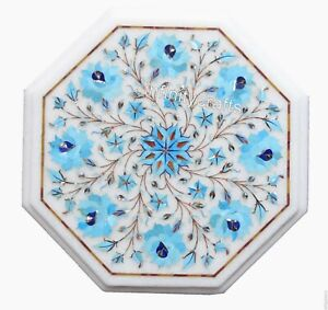 Marble Coffee Table Top Inlay Turquoise Gemstones Patio Side Table Top 13 Inches