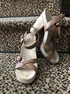 Miu Miu Prada nude suede & brown leather strappy platform high chunky heel 39.5