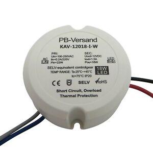 LED Trafo 18 Watt 12V DC rund für Unterputzdose Transformator Aufputzdose 18W