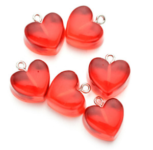 20pcs Transparent Resin love heart Charms Pendants jewelry Making Accessorie