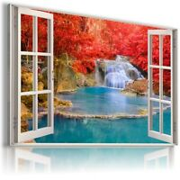 WATERFALL CASCADE RED TREES 3D Window View Canvas Wall Art Picture  W57 MATAGA .