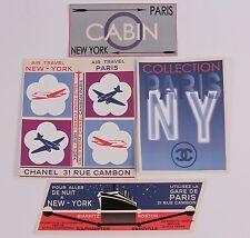 Chanel 2006 Paris-New York PNY-Fashion Show-Travel Art CC-Large Stickers-4pc Set
