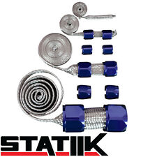 BLUE STAINLESS STEEL ENGINE HOSE DRESS UP KIT FOR RADIATOR/VACUUM/FUEL/OIL S4