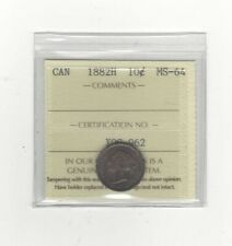 1882H   ICCS  Graded Canadian,  10  Cent, **MS-64**