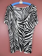 sc000420- Dana Buchman Mujer rayón Nailon Manga Corta Jersey blanco y negro XL