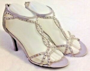 New Audrey Brooks Silver Stiletto Heels Sz 7 M Sandal Shoes Metallic Strappy