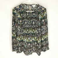 J. JILL Pullover Peasant Top Size Small Floral Boho Womens Long Sleeve