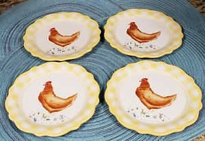 PIONEER WOMAN SET OF 4 CHICKEN GINGHAM CERAMIC APPETIZER  PLATES NEW