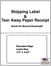 200 Shipping labels with & tear off receipt - Perfect fit for online shippers