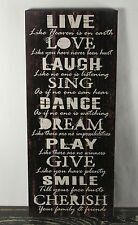 RUSTIC COUNTRY BLACK WOOD LIVE LAUGH LOVE SIGN HANDMADE INSPIRATIONAL DECOR 1350