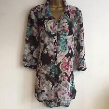 Ladies Long  Blouse Top Duster Coat Size 14 Black GEORGE Bnwot Semi Sheer Floral