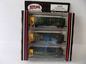 N SCALE FREIGHT CAR 90TON HOPPER CAR FOR C&NW RR. BY ATLAS 3PACK NOS R TO R