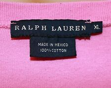 Ralph Lauren Women's Basic Tee Pink Ribbed Knit Short Sleeved Crew Neck XL