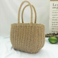 Women Straw Basket Bag Wicker Handbag Rattan Summer Beach Boho Holiday Casual