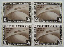 Deutsches Reich - Blok van 4 Luchtpost Graf Zeppelin met opdruk Polarfahrt ND