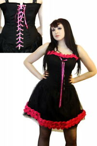 Scratch Rose Canvas Basque Dress Phaze Gothic Steampunk Clothing Black Pink