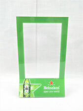 "New Heineken Beer 8""x5"" Clear & Green Acrylic Cafe Bar Table Top Menu Ad Holder"