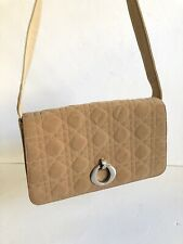 Christian Dior QUILTED CANNAGE FABRIC And Leather Beige Handbag