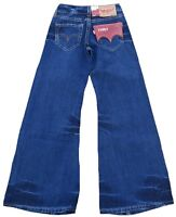 LEVI'S TYPE1 929 Girls Wide Leg Flare Schlag JEANS 27/34 W27 L34 Used Blue Hose