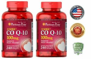 Puritan's Pride CO Q-10 Heart Cardiovascular Wellness 100mg  240 Softgels 2 PACK