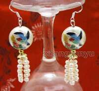 4-5mm White Round Natural Pearl with 18mm White Cloisonne Dangle earring-ear587