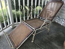 Antique Folding Campaign/Deck Lounge Chair Wrought Iron 1899