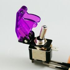 20pcs 12V Aircraft Style Toggle Switch Safety Cover Purple LED Car Truck ASW-07D