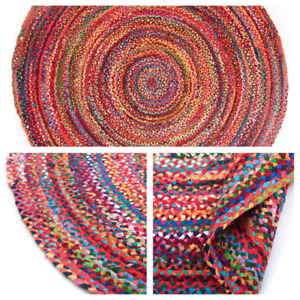 TRIDNT Round Handmade Recycled Multi Chindi Rag Rug LoomedWovenStrip Indian Flat
