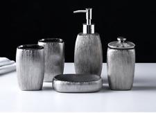 Silver Plating 5pcs Bathroom Accessory Set Soap Dispenser Dish Toothbrush Holder