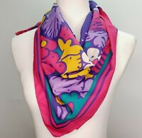 Italian floral scarf pink purple teal yellow white 30-inch square vintage 1980s