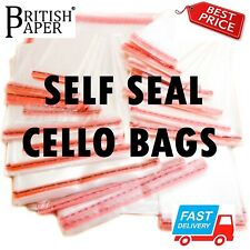 CLEAR CELLOPHANE BAGS SELF SEAL SMALL LARGE CELLO GIFT SWEET PARTY FOR CARDS WAX