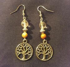 Round tree of life earring natural gemstone glass beads silver tone ladies women
